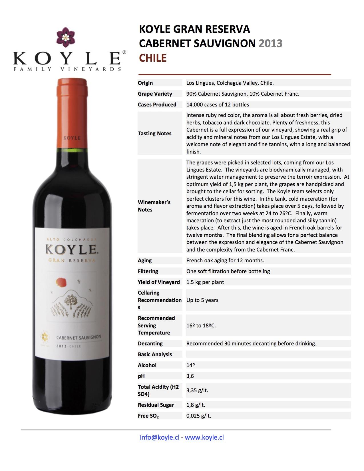 Technical Sheet Koyle Gran Reserva 2013