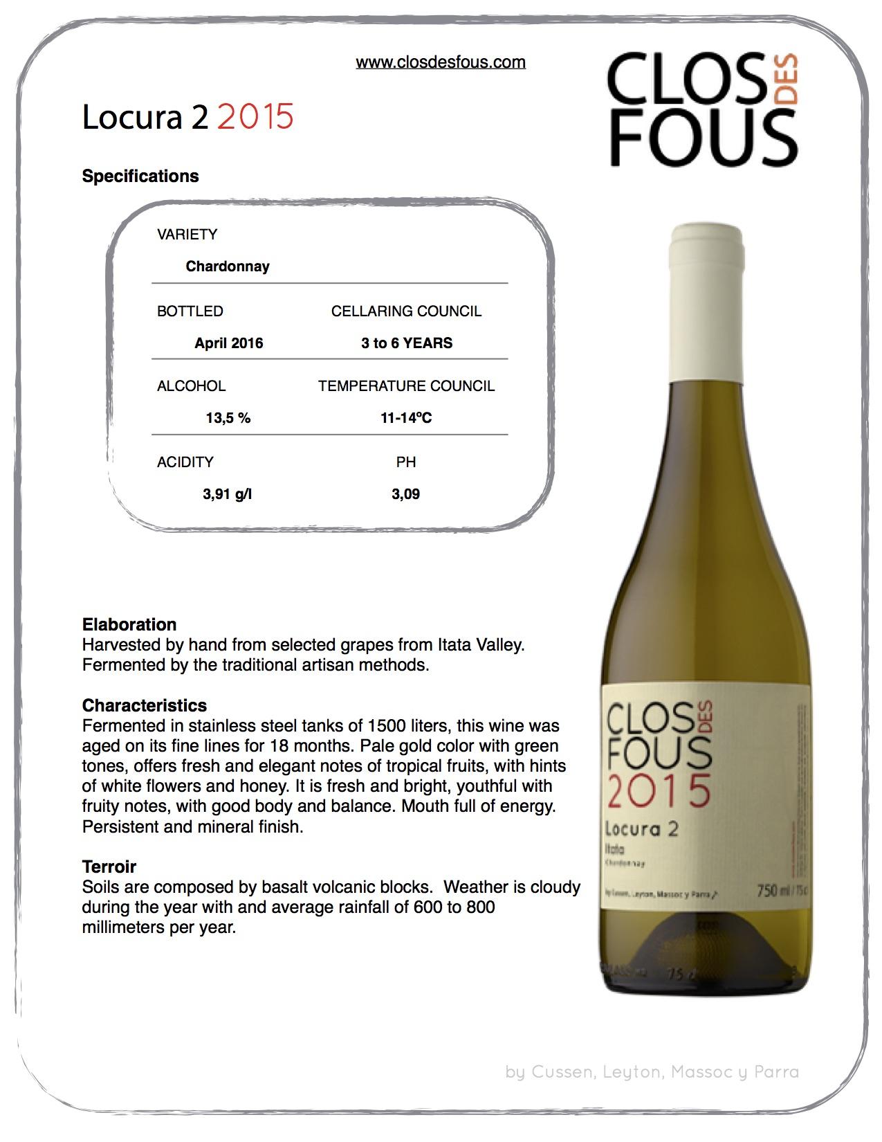 Weisswein aus Chile Clos des Fous Locura 2 online bestellen